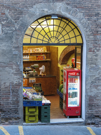 SIENA, ITALY - CIRCA JULY 2016: green grocers store front Editöryel