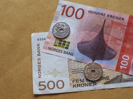 Norwegian Krone banknotes and coins (NOK), currency of Norway Reklamní fotografie