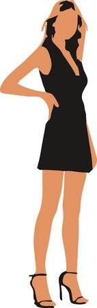 Sexy fashion-victim girl - isolated vector illustration
