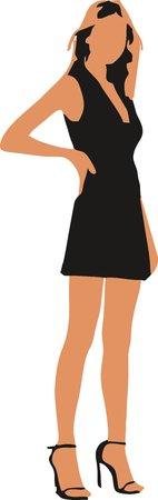 Sexy fashion-victim girl - isolated vector illustration