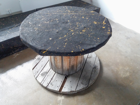 industrial wooden reel hipster table and bench