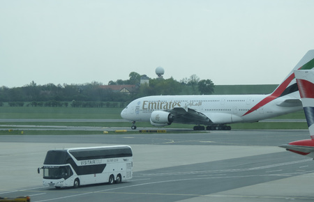 VIENNA SCHWECHAT, AUSTRIA - CIRCA APRIL 2017: World biggest passenger aircraft Airbus A380 of the Emirates airlines taxiing at Vienna Schwechat international airport 報道画像