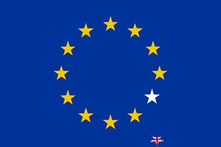 European Union flag with UK star fallen down and mashed - isolated vector illustration