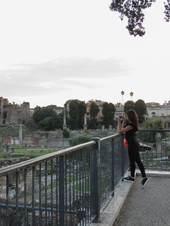 ROME, ITALY - CIRCA OCTOBER 2018: Ruins of the Roman Forum aka Foro Romano with tourist takin a picture
