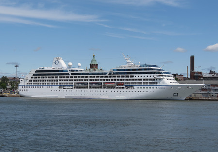 HELSINKI, FINLAND - CIRCA JUNE 2012: MS Nautica cruiseferry ship of the Oceania Cruises moored at the harbour