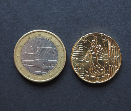 Euro coins money (EUR), currency of European Union from Finland and France