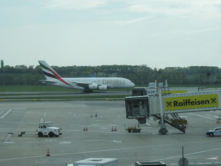 VIENNA SCHWECHAT, AUSTRIA - CIRCA APRIL 2017: Airbus says A380 superjumbo production will end