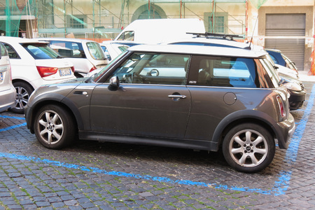 VITERBO, ITALY - CIRCA OCTOBER 2015: Mini Cooper car (2013 version)