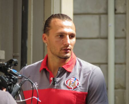 CREMONA, ITALY - CIRCA AUGUST 2019: Vasile Mogos, Romanian professional footballer who plays for Italian Serie B club Cremonese as a defender Редакционное