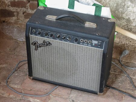 HAMBURG, GERMANY - CIRCA AUGUST 2019: Fender Champion 110 amplifier for electric guitar with German Type F plug schuko