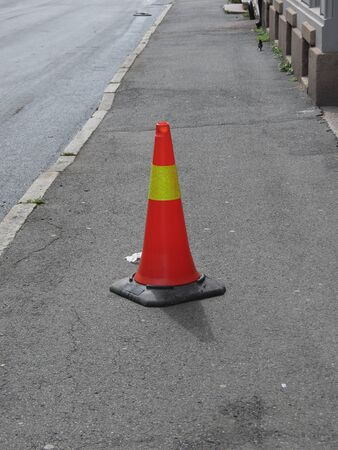 traffic cone to mark road works or temporary obstruction traffic sign