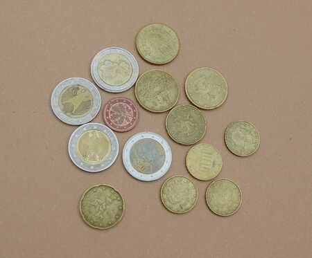 Euro coins money (EUR), currency of European Union Imagens