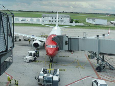 PRAGUE, CZECH REPUBLIC - CIRCA JUNE 2015: Norwegian Boeing 737-8JP parked at the airport
