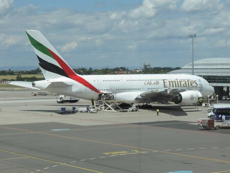 PRAGUE, CZECH REPUBLIC - CIRCA JULY 2016: World biggest passenger aircraft Airbus A380 of the Emirates airlines at Vaclav Havel international airport