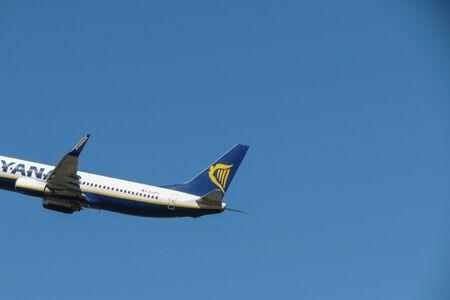 ORIO AL SERIO, BERGAMO, ITALY - CIRCA SEPTEMBER 2015: Ryanair aircraft Boeing 737-80 during take-off Editorial