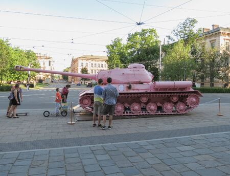 BRNO, CZECH REPUBLIC - CIRCA MAY 2017: Pink tank, controversial piece released in 1991 by Czech artist David Cerny Redakční