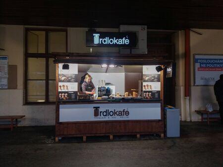 BRNO, CZECH REPUBLIC - CIRCA DECEMBER 2017: Trdlokafe wooden stall at Main railways station