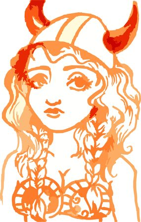 Viking girl or young woman child illustration