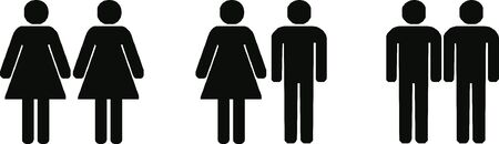 different couples (lesbian, heterosexual, gay) - isolated vector illustration 写真素材