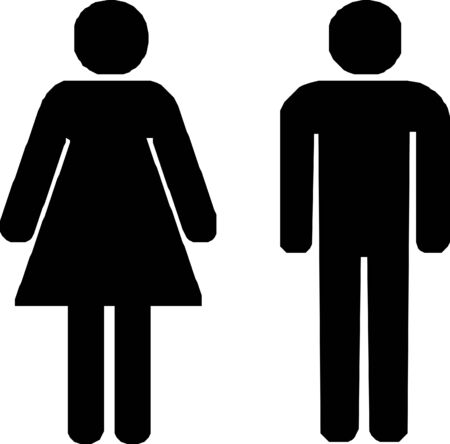toilet sign man and woman - isolated vector illustration  イラスト・ベクター素材