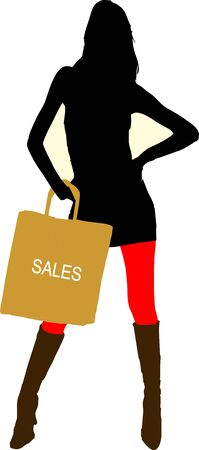 Sexy fashion-victim girl with shopping sales bag - isolated vector illustration