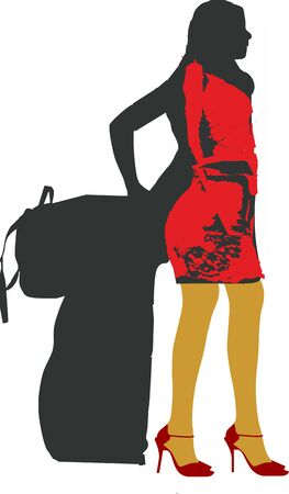 silhouette of a sexy solo girl traveler - isolated vector illustration