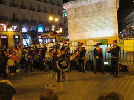MADRID, SPAIN - CIRCA OCTOBER 2017: a band of Mexican mariachi playing outdoors on main square Editorial