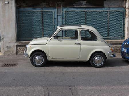 CAGLIARI, ITALY - CIRCA OCTOBER 2019: white Fiat 500 car