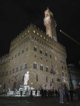 FLORENCE, ITALY - CIRCA NOVEMBER 2019: Palazzo Vecchio meaning Old Palace, by night