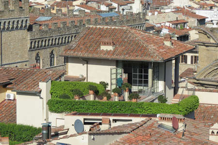 FLORENCE, ITALY - CIRCA APRIL 2016: aerial view with roofs and terraces