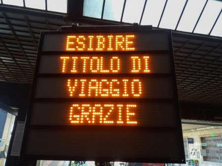 FLORENCE, ITALY - CIRCA APRIL 2019: Esibire titolo di viaggio (translated: