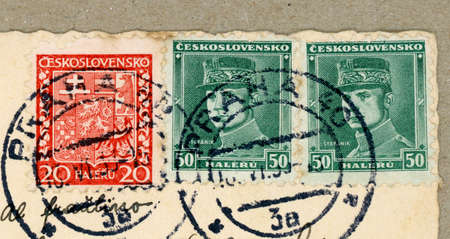PRAGUE, CZECH REPUBLIC - CIRCA AUGUST 2020: stamps printed by Czechoslovakia showing the Czech coat of arms and a portrait of Slovak General Milan Rastislav Stefanik