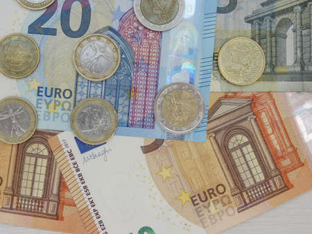 Euro banknotes and coins (EUR), currency of European Union Stockfoto