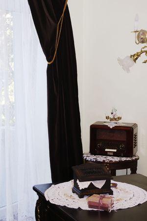 classic interior - dark wood table and old radio Stock Photo - 1255146