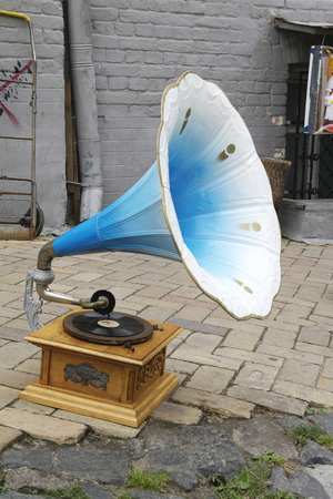 old fashioned blue Gramophone