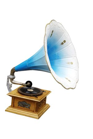 old fashioned blue Gramophone isolated Stock Photo