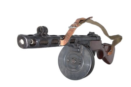 Old Machine Gun close up isolated Stock Photo