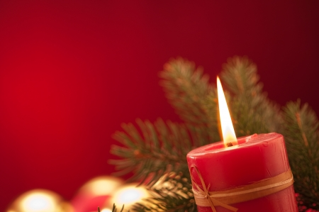 lighting Chrismas candles Stock Photo
