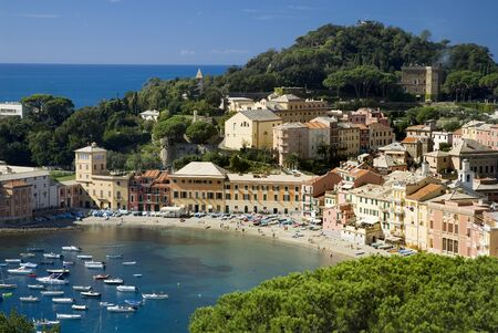 the small town of Sestri Levante Liguria Italy