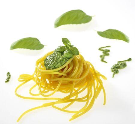 italian sauce pesto with spaghetti