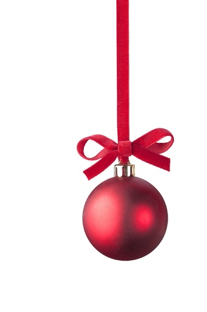 hanging Christmas red ball on white