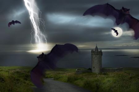 drakula: a Hallowen dark night with light,moon and bats Stock Photo