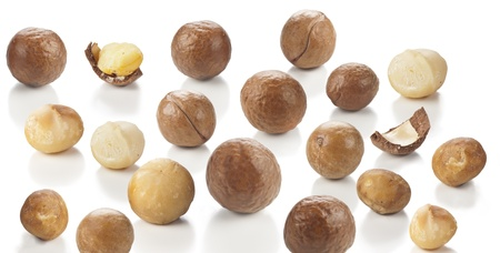 nuts of macadamia on white,australian nuts