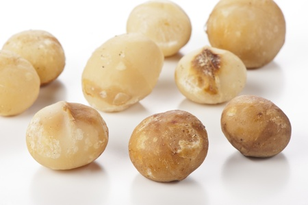 nuts of macadamia on white,australian nuts Stock Photo - 16163229