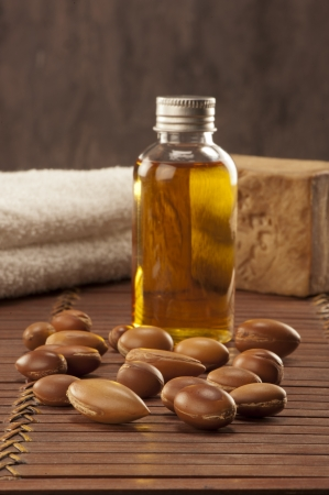 seeds of argan with light and soap a close up