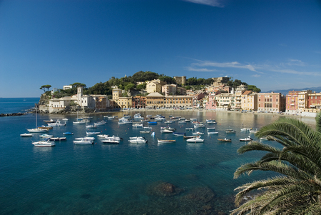 the small town of Sestri Levante Liguria Italy