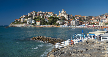 the beautiful Ligurian town of Porto Maurizio,Imperia during summer Editorial