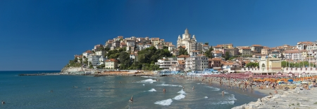 the beautiful Ligurian town of Porto Maurizio,Imperia during summer Editorial