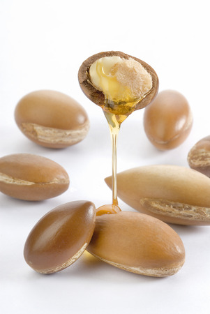 seeds of argan on white background