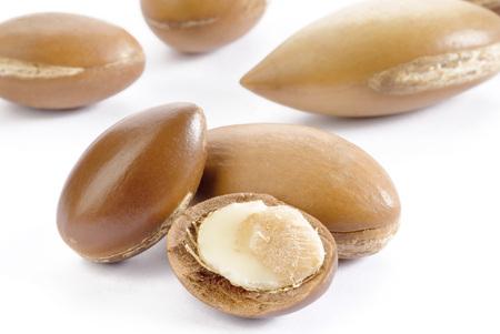 semilla: semillas de argán en el fondo blanco